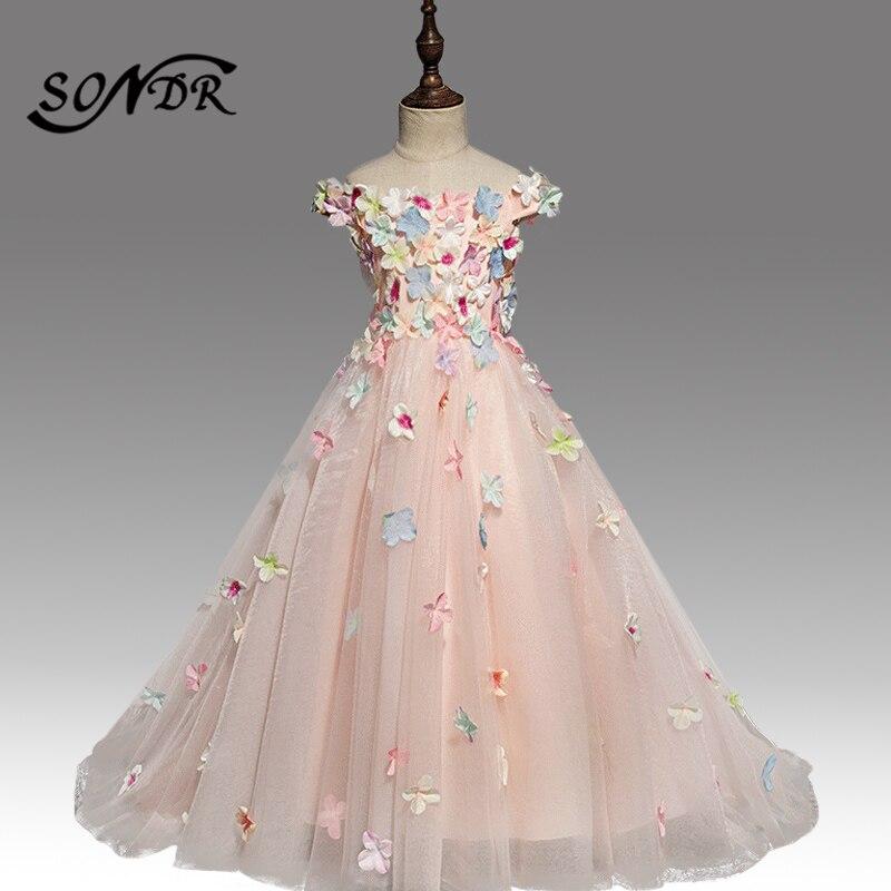 Vestido colorido de la muchacha de la flor de las aplicaciones HT160 elegante cuello del barco fuera del hombro vestidos del desfile de las muchachas niños vestido de fiesta de princesa