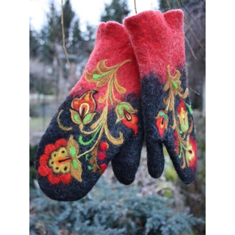 Зимние перчатки Варежки женские перчатки с флисовой вышивкой женские зимние теплые перчатки кожаные варежки уличные перчатки для женщин