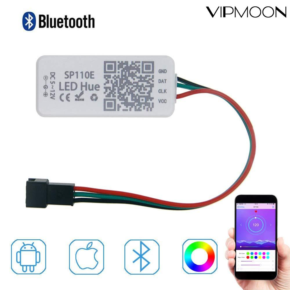 SP110E Bluetooth Pixel light Controller WS2811 WS2812B 1903 Dimmer SK6812 RGB RGBW APA102 WS2801 pixels Led Strip IOS Android
