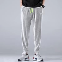 2021 summer new mens ice silk casual leggings harem pants casual comfortable and breathable