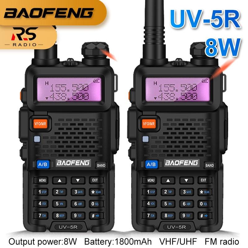 2 uds Real 8W BAOFENG UV-5R Walkie Talkie Amateur jamón estación de Radio CB VHF UHF doble banda FM transceptor 10KM de caza intercomunicador