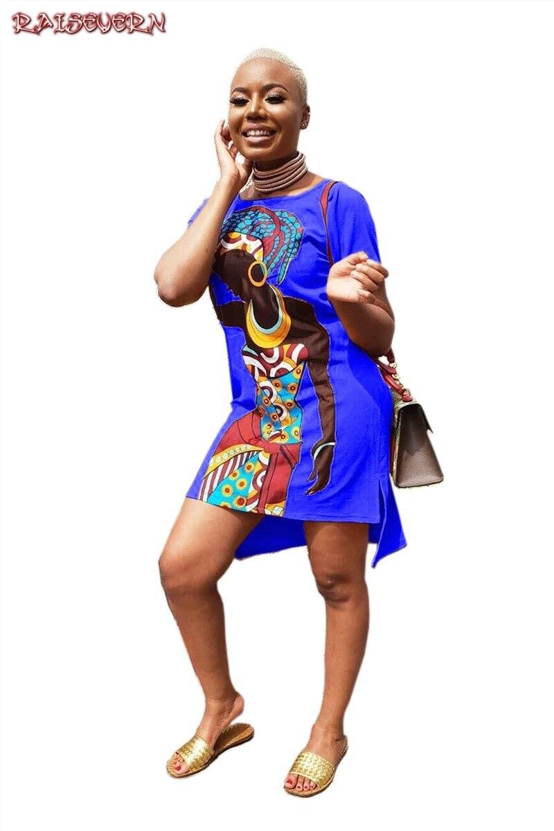 2019 Africa National Style Print Dress Woman Summer Retro Short Sleeve Dashiki Riche Bazin O-neck African Clothing For Women