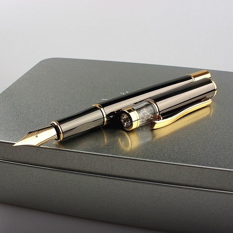 Ручка перьевая 839A, роскошная металлическая ручка со стразами, золотистая, для письма, офисные и школьные принадлежности