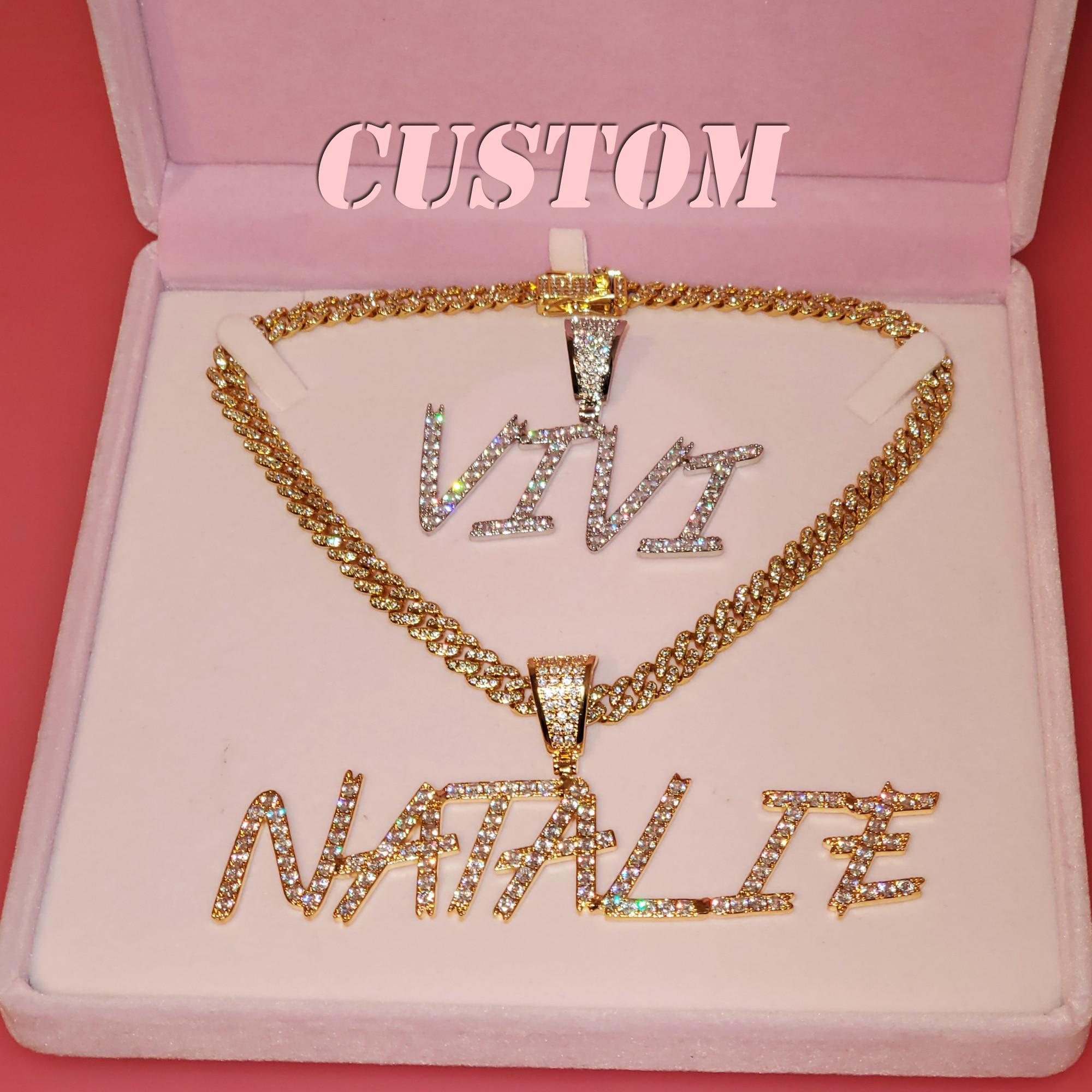 Пользовательская кисть шрифт ожерелье с буквами именная табличка на заказ, цепочка-чокер, кулон с именем из циркония, персонализированное о...
