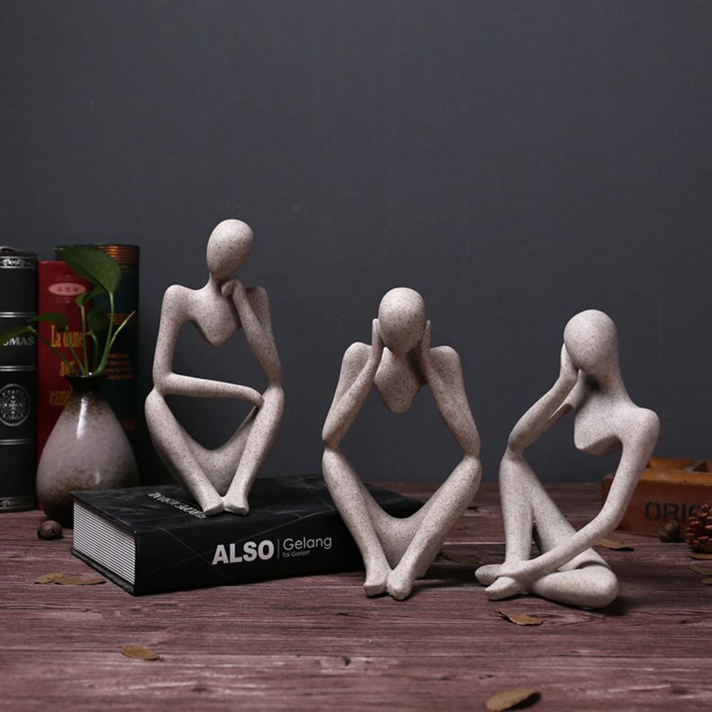 Nueva estatua de resina de estilo europeo de pensador abstracto escultura figurita decoración del hogar de oficina