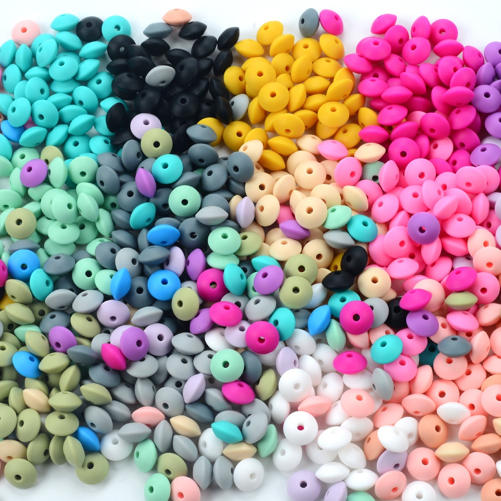 50pcs/lot 12mm Silicone lentil Beads Silicone BPA Free DIY Charms Newborn Nursing Accessory Teething Necklace Teething Toy