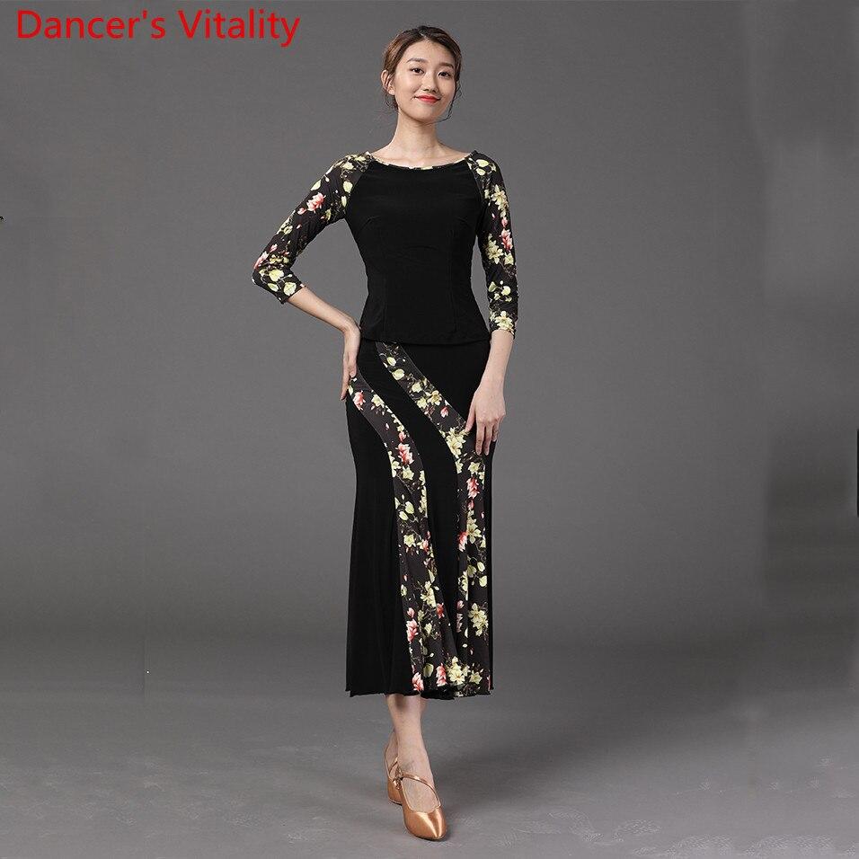 Frauen Moderne Dance Neue Mode Farbe Blockieren Top Lange Rock Ballsaal Nationalen Standard Walzer Jazz Tanzen Praxis Zug Anzug