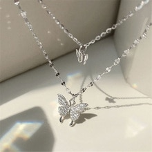 Silver Colour Shiny Butterfly Necklace Female Exquisite Double Layer Pendant Clavicle Chain Necklace