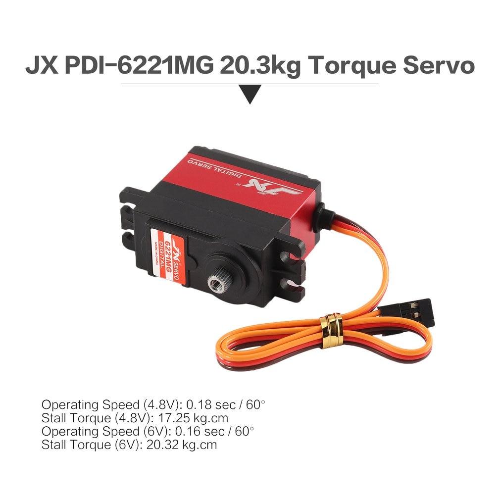 JX PDI-6221MG Metal RC Servo engranaje 4,8 V-6 V 0 16sec/60 Digital Servo 20,3 kg par aluminios para 1/10 1/8 RC coche/HHK avión grande,
