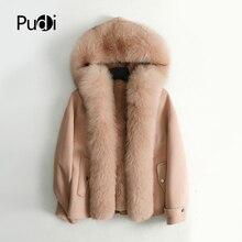 Pudi femmes automne hiver nouveau réel renard col manteau veste lapin doublure de fourrure femme fille naturel fourrure manteaux vestes pardessus ZY126