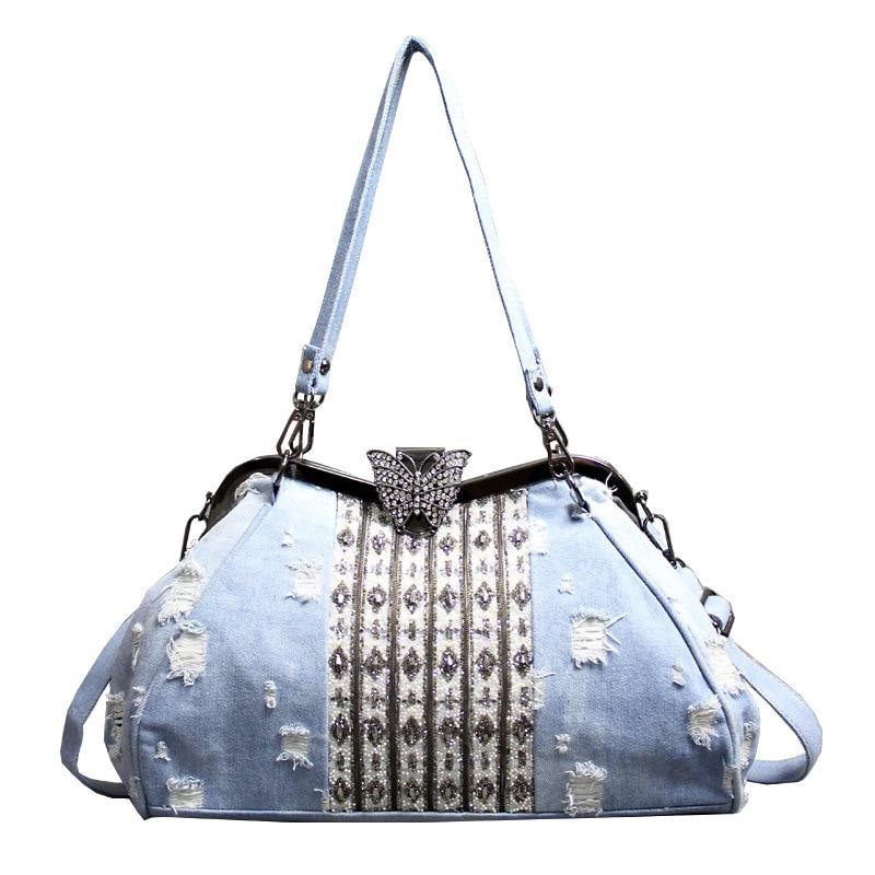 حقيبة الإناث الجديدة أزرق فاتح الدنيم شخصية حقيبة كتف واحدة فراشة مجموعة مشابك اوجير البالية حزمة عالية السعة