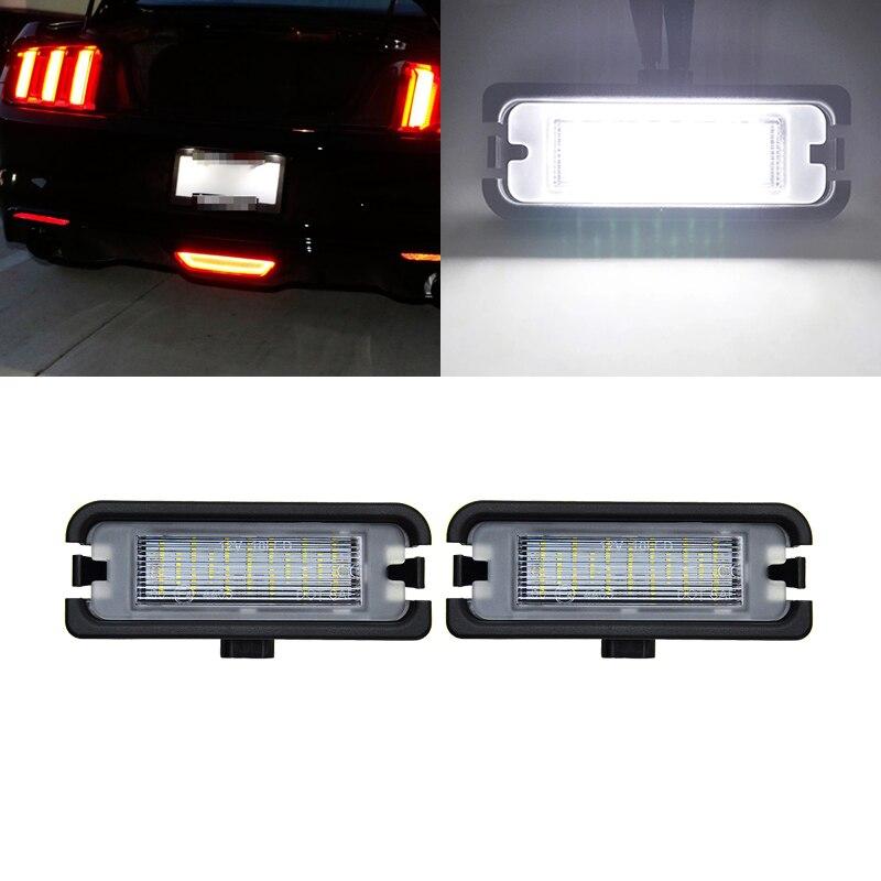 Se encaixa para ford mustang 2010 2011 2012 2013 2014 2015 2016 2017 2018 2019 smd canbus branco traseiro led luzes da placa de licença lâmpadas
