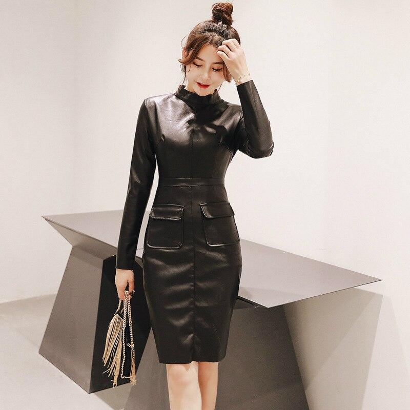 Talla grande negro otoño Vestidos de manga larga Midi Stretch Modis gran venta sólido vestido de fiesta Vestidos bata de mujer PU vestido de cuero