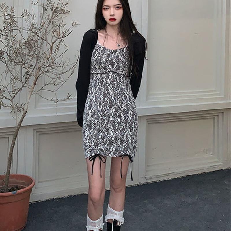 Women Long Sleeve Square Collar Party Mini Dress Korean Female One Piece Dress 2021 Summer Hepburn Style Vintage Floral Dresses