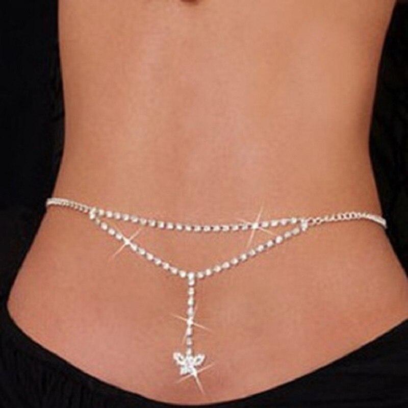 Cinturón de cadena de cintura para mujer, cadena de vientre de cadena de cintura con diamantes de imitación y cristales