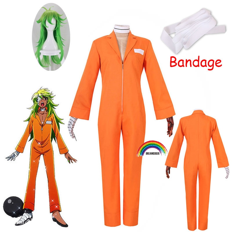 Bodysuit + Luva Roupas de Halloween Anime Nanbaka Niko Rock Prisão Uniforme Cosplay Trajes Laranja Prisioneiro 2022 No.25