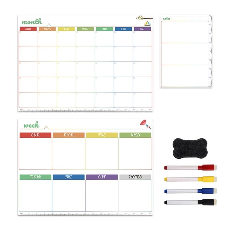 Magnetic White Board Kit Daily Weekly Monthly Planner Calendar Fridge Magnet Pen K3KB