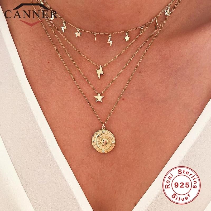 Canner real 925 prata esterlina relâmpago estrela redonda gargantilha colar para feminino minimalista jóias finas acessórios colares