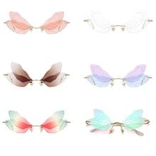 car Driving  Fashion Glasses Men Frameless Rimless Sunglasses Women Vintage Dragonfly Steampunk Sung