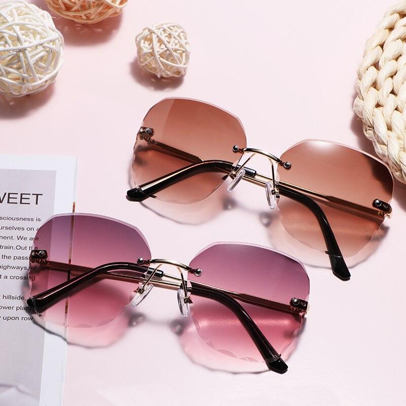 Cute Quality Rimless Women Sunglasses Cutting Lens Glasses Fashion Eyewear UV400 Shades Gradient Sun