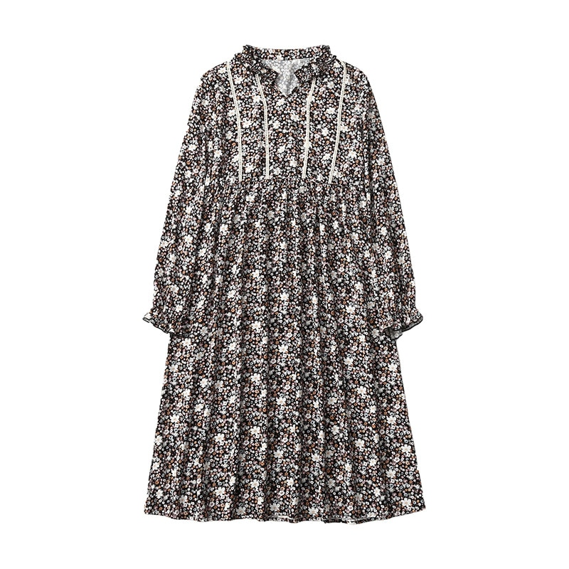Maternity Clothes Autumn Mid-length Frilled V-neck Floral Versitile Fashion Freaky Loose out Skirt enlarge