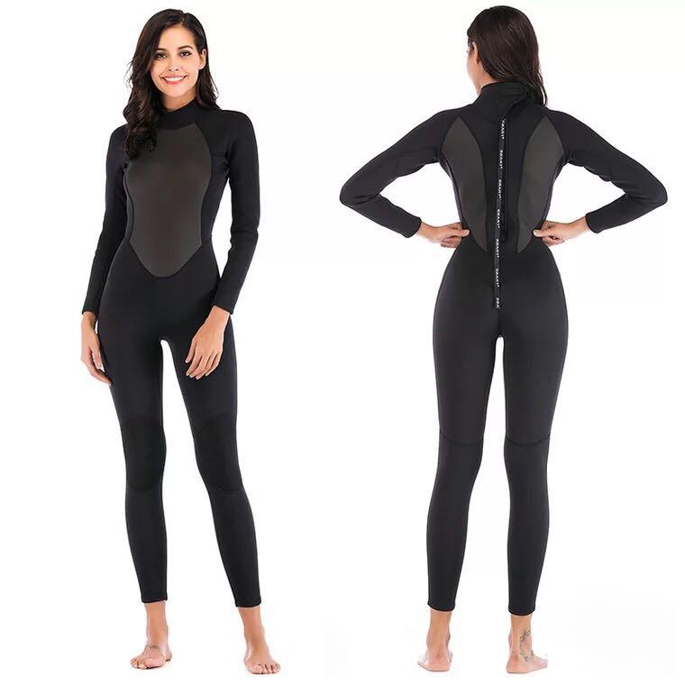 Womens Wetsuit Full 3mm Neoprene Surfing Scuba Diving Snorkeling Swimming Suit Solid Black/Grey Long Sleeve Wet Suit Back Zipper