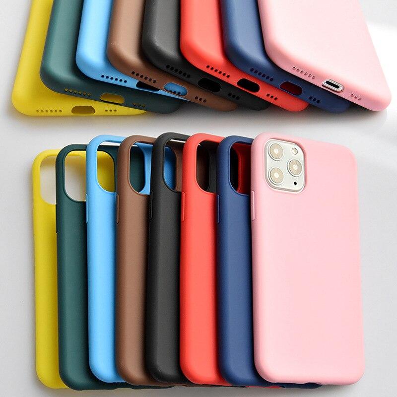 Funda blanda fina para iPhone 7 8 6 6s Plus 5s SE funda Original de silicona líquida Capa de caramelo Coque para iPhone Xs 11 Pro Max XR