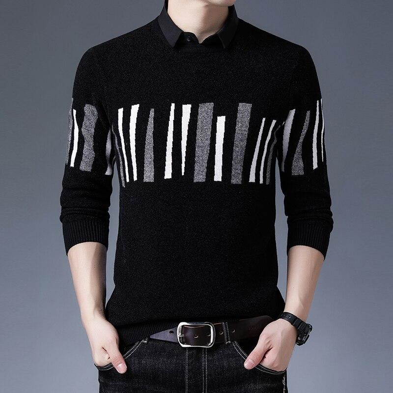 Новинка Осень-зима 2021 мужские шерстяные свитера из двух частей мужские свитеры вязаные свитеры модные Универсальные