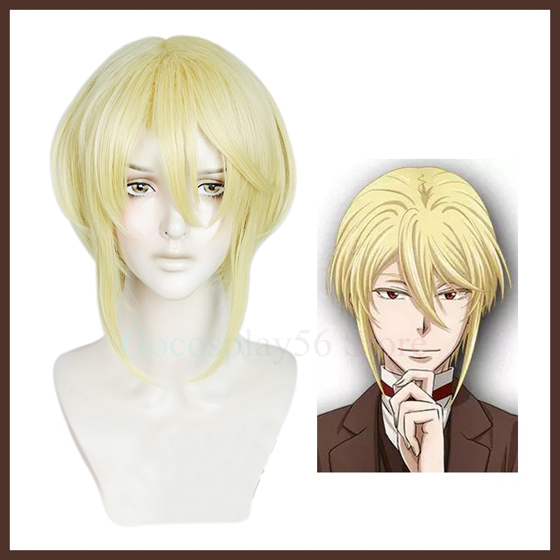 William James Moriarty Cosplay Wig Blonde Short Straight Golden Mullet Hair Anime Yuukoku no Moriarty the Patriot Patriotism
