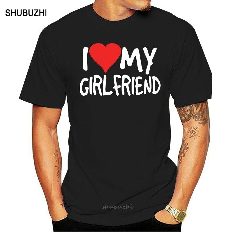 Camiseta para hombre I Love My novia moda de cumpleaños regalo novio pareja divertida