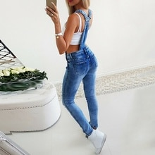 Ladies Jeans High Waist Elastic Force Broken Hole Jumpsuit Long Fashion Sexy Female Pants Overalls H