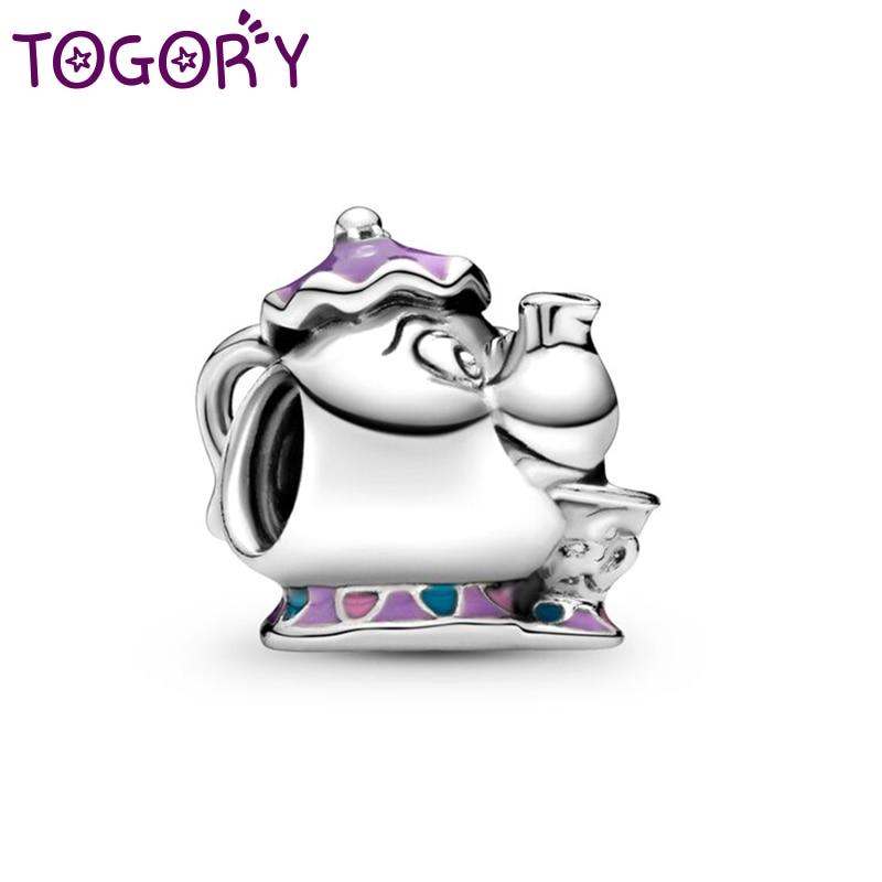2Pcs/lot Cartoon Teacup Purple Enamel Charm Beads Fits Original Pandora Charm Braeclet Necklace For Women Fashion Design Jewelry