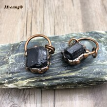 Molten Soldered Black Tourmalin Necklace Pendants Antique Copper Loop Healing  Jet Stone Charms For DIY Jewelry Making MY210416