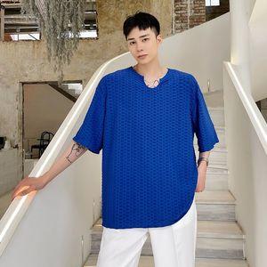 Summer V-neck Pleated T-shirt Men Korean Casual T-shirt Men's Fashion Loose T-shirt Men's Streetwear Short-sleeved T-shirt Men