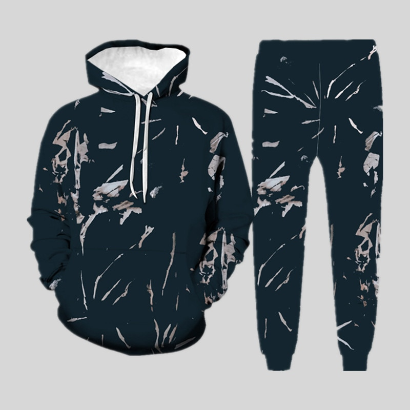 Men's 3D Colorful Sets Casual Fashion Hooded Pants Hooded Sweatshirt + Sweatpants Sportswear Spring and Autumn  Two-Piece Suit