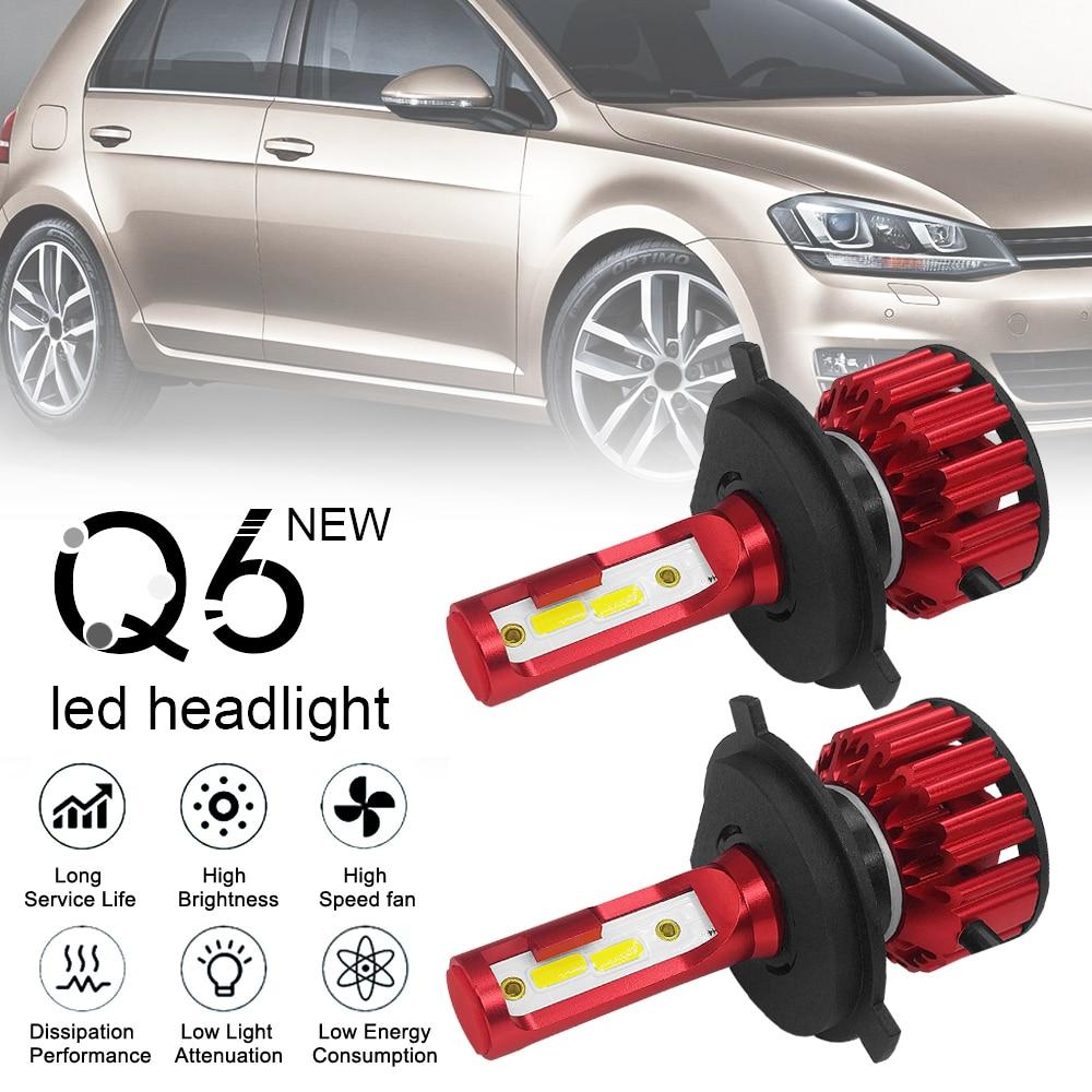 2 Pcs Q6 CarLED Headlight  H4 / 9003 / HB2 12000LM 6000K White Light 120W DOB LED Car Headlight Kit High / Low Light Bulb
