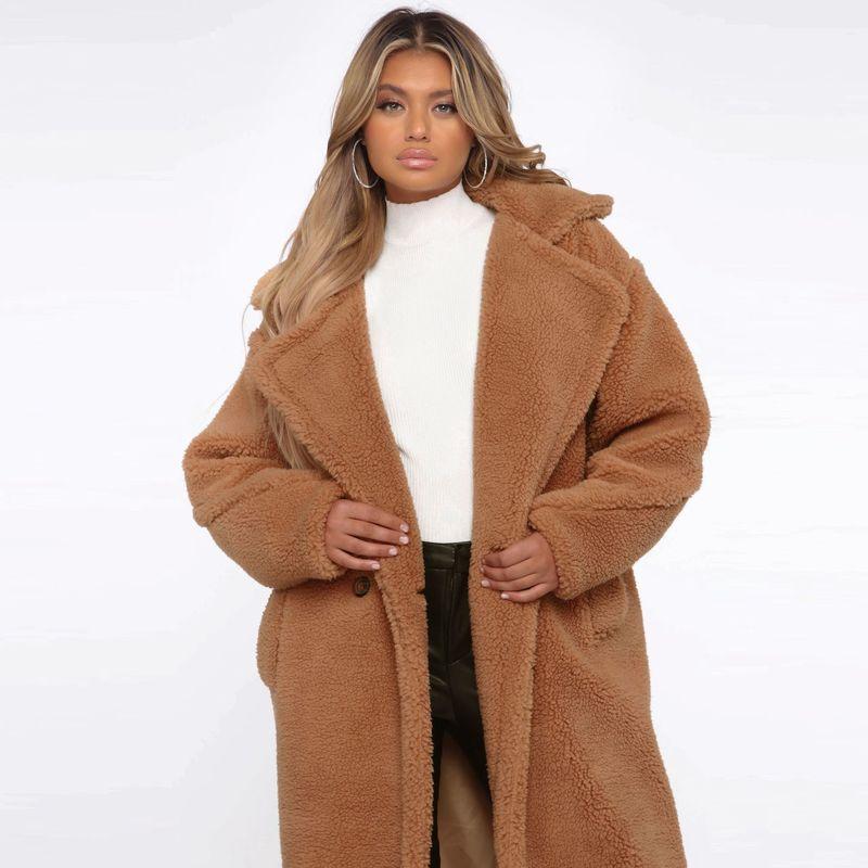 Invierno de gran tamaño X-Long Teddy Faux Fur Coat femenino Vintage doble botonadura Fuzzy Blends señoras Fluffy polar cálido caqui ropa