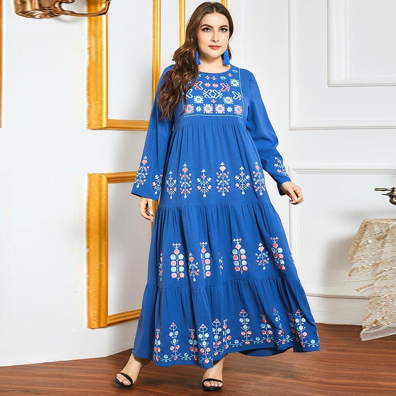 Турецкая мусульманская Арабская молитвенная одежда синяя вышитая Этническая одежда Кафтан индийская Женская плиссированная мусульманска...