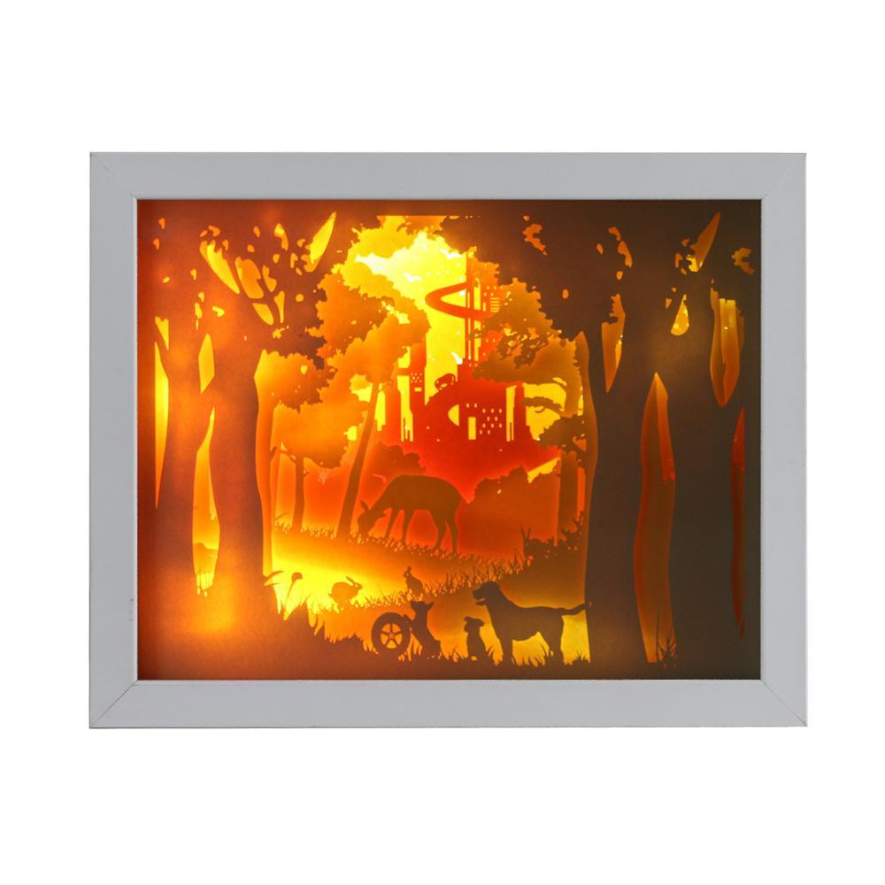 Caja de sombra 3D barata amigable con el medio ambiente, marco de luz nocturna para el hogar, decoración para el hogar, cuadros de sombras de ojos, caja de sombra de plástico