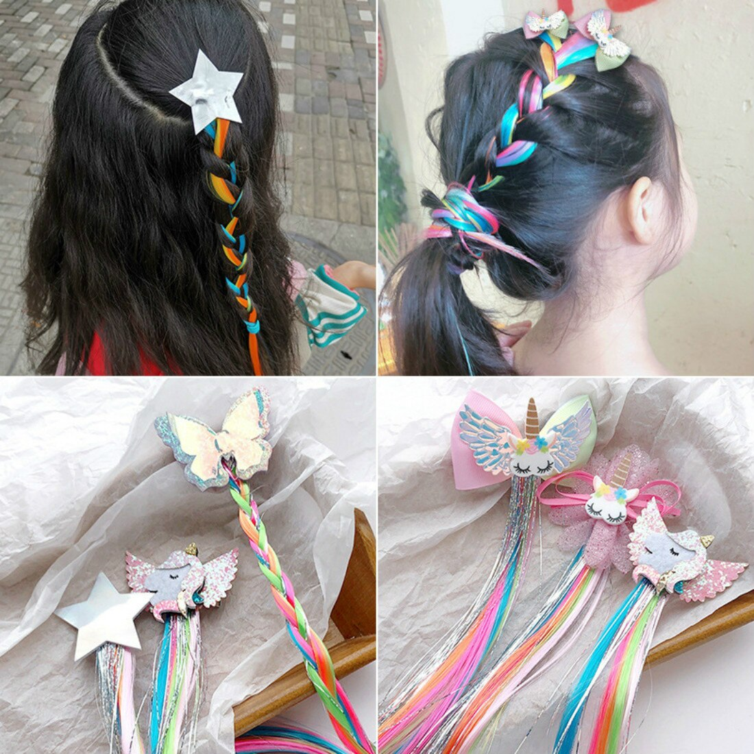 Cross Border Online Red Children's Hair Accessories Unicorn Star Color Wig Hairpin Girl Bowknot Hairpin Children