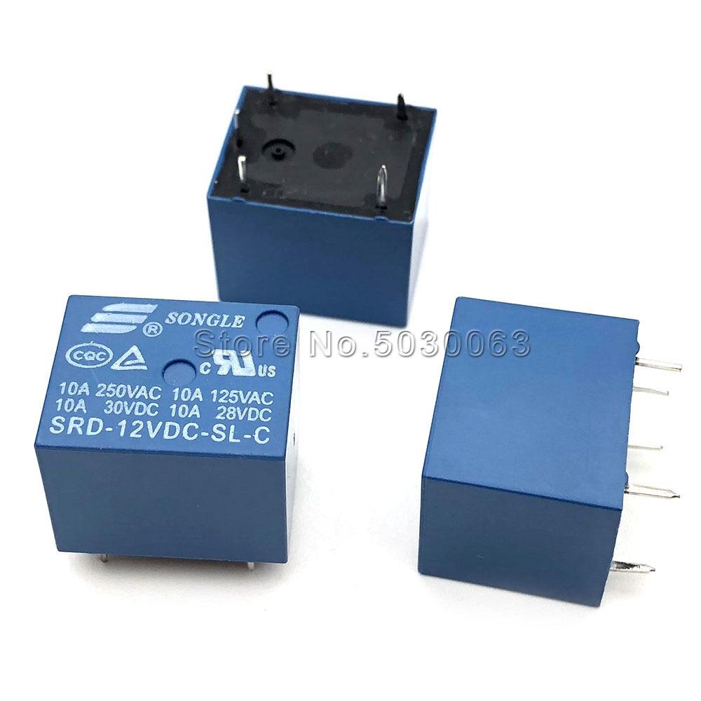 2 pçs/lote SRD-12VDC-SL-C 5pin Songle relé 5-pé 10A alta corrente T73-12V cinco pinos 5P Single-pólo double-throw