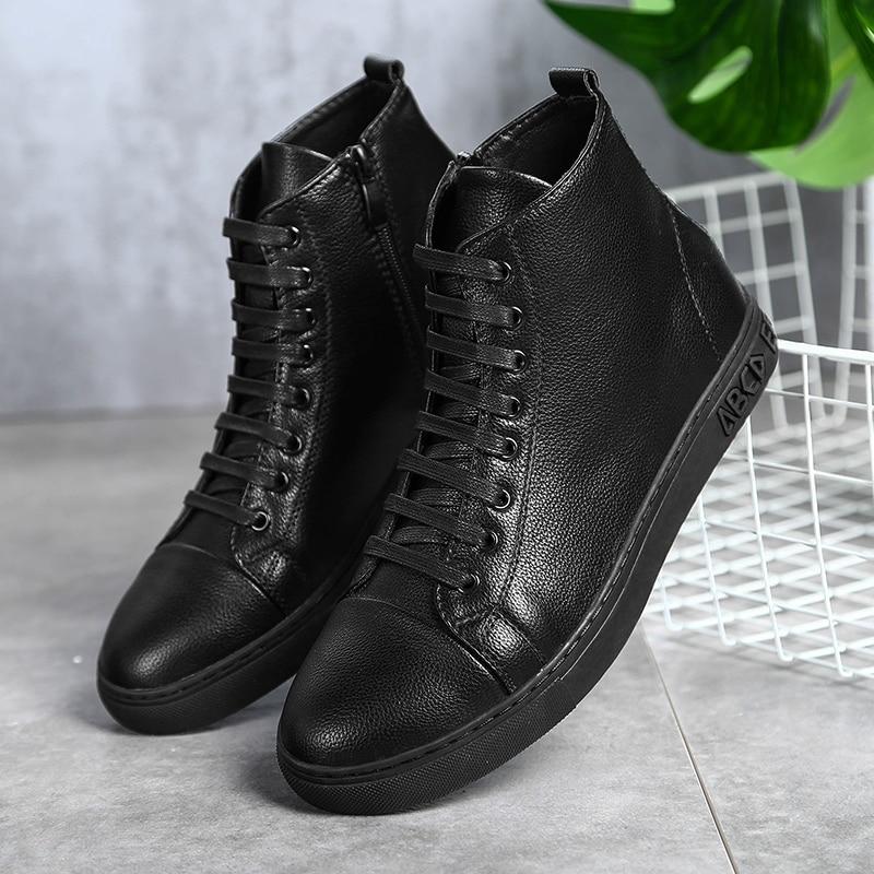 أحذية رياضية جلدية للرجال ، أحذية الكاحل ، أحذية الشتاء ، جلد طبيعي ، دافئ ، مقاس كبير 48