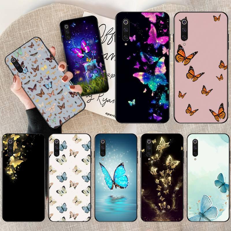 HPCHCJHM butterfly Soft black Phone Case for Xiaomi Mi10 10Pro 10 lite Mi9 9SE 8SE Pocophone F1 Mi8