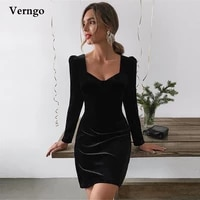 verngo simple black velour evening party dresses long sleeves short prom dress above knee 2021 special occasion gowns plus size