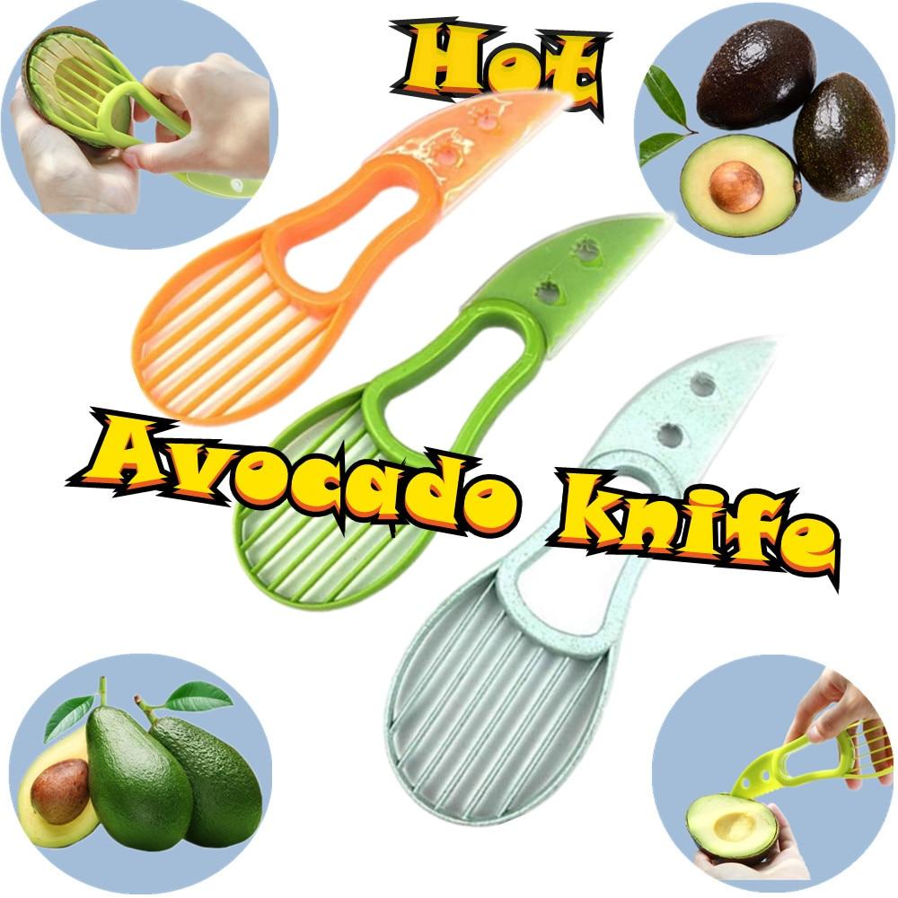 Couteau à avocat multifonctionnel séparateur trois-en-1, couteau en plastique, outils de cuisine pour légumes, trancheur beurre Machine à éplucher les fruits