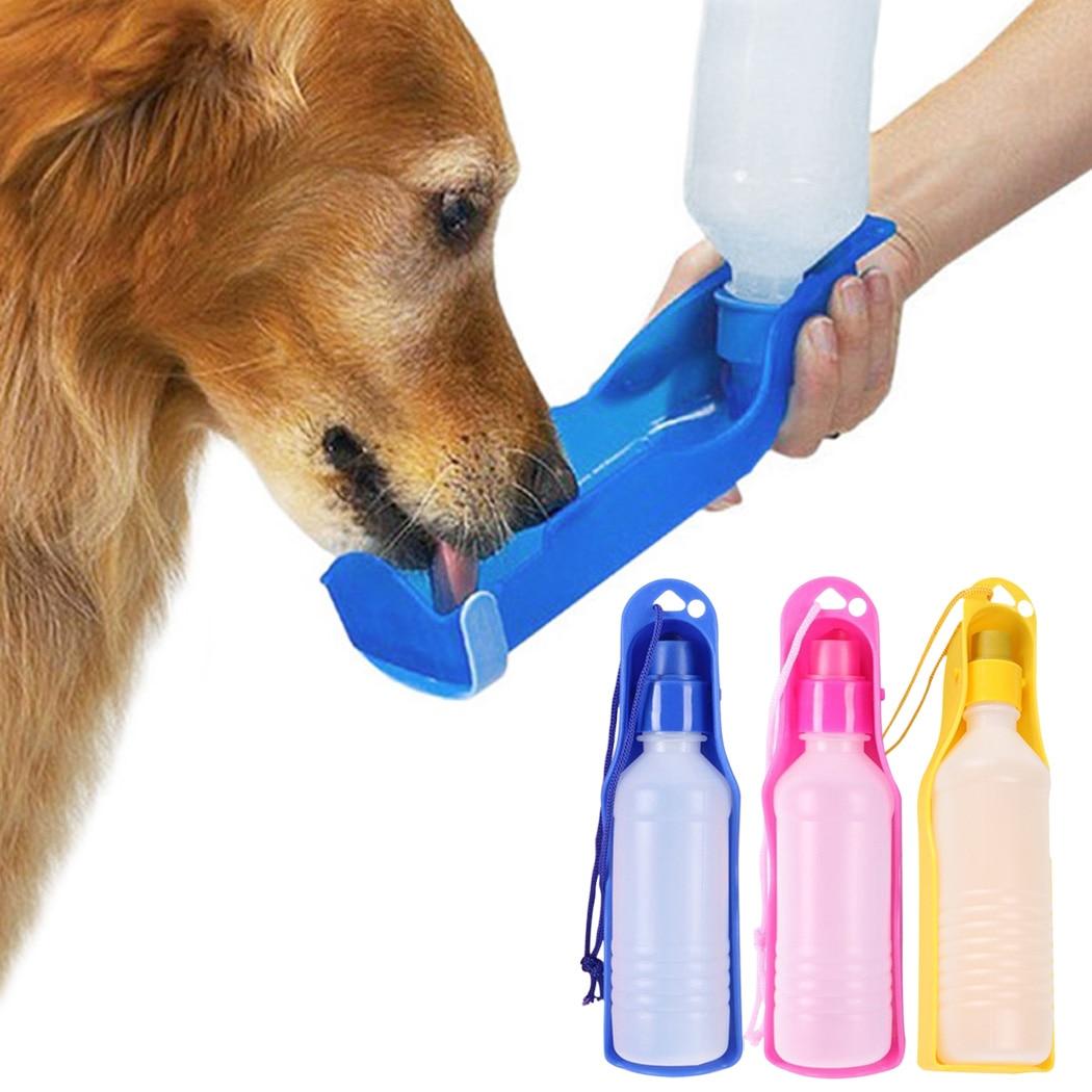 2pcs 500ml Garrafa de Água Cão Alimentador Com Tigela de Plástico Portátil Garrafa de Água Potável Para Animais de Estimação Animais de Estimação Ao Ar Livre Viagem Água alimentador