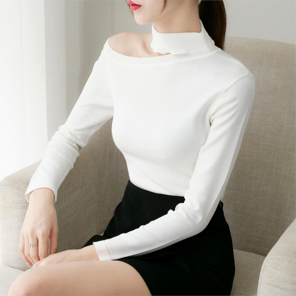 Women knitted cotton 2019 Sweater Autumn and Winter New High collar Side strapless sweater Pullover Warm Soft