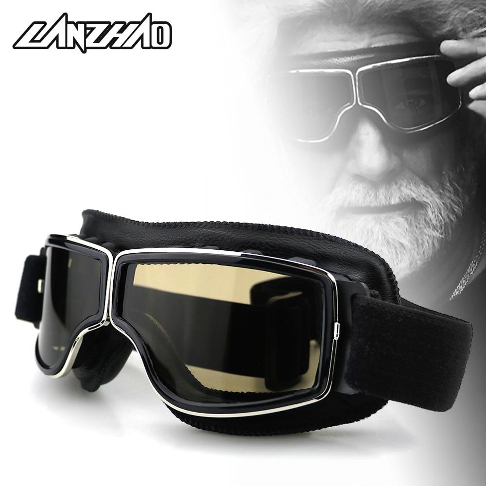 Gafas Retro para motocicleta, Cruiser, Chopper, Bobber, casco, piloto, gafas de sol, gafas de cuero para Harley Yamaha, Honda Triumph