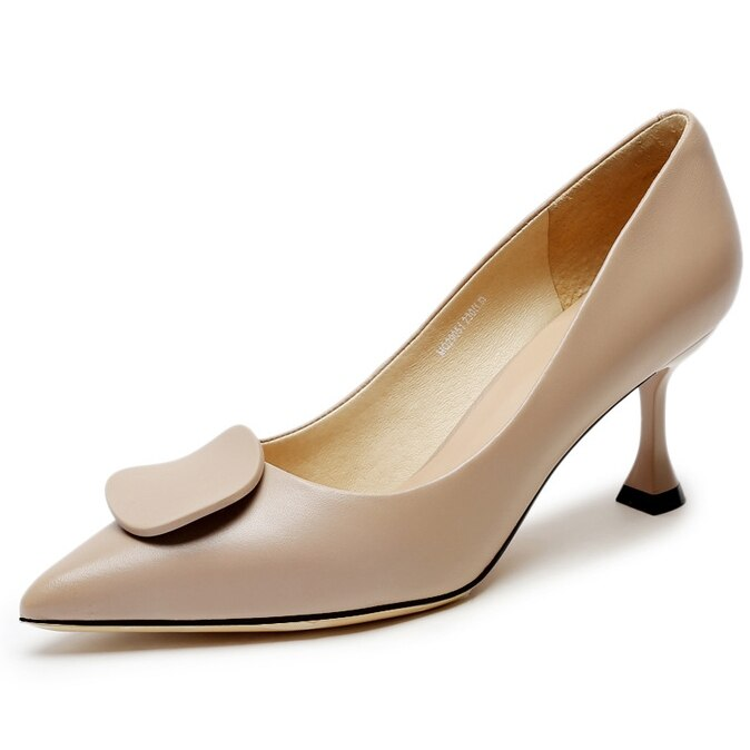 Womens New Fashion Ladies Pumps Luxury Design Cow Leather Shoes For Woman Pointed Toe Classic High Heels K0021