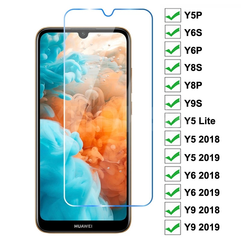 9H Tempered Glass For Huawei Y5P Y6P Y6S Y8S Y8P Y9S Y5 Lite Screen Protector Huawei Y5 Y6 Y9 Prime